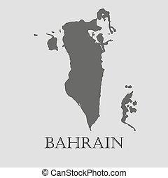 バーレーン, 地図, -, イラスト, ベクトル, 黒