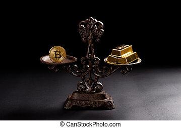 バー, スケール, bitcoins, 金, bitcoin, 値, 概念, バランスをとられた