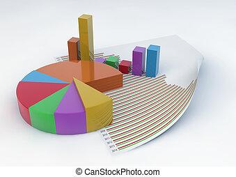 バー, チャート, パイ, 隔離された, ペーパー, 背景, 統計値, 白, 文書, 3d