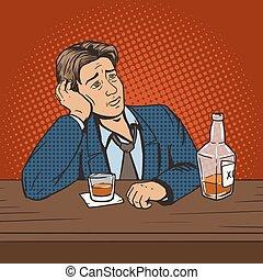 バー, ベクトル, ムード, 人, ポンとはじけなさい, ひどく, 飲み物, 芸術