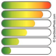 バー, ベクトル, レベル, 低い, indicators., 進歩, high., ローディング, editable