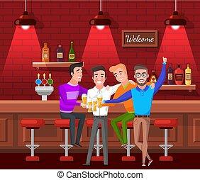 バー, モデル, ビール, 飲むこと, マレ, 友人