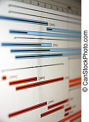バー, ∥例証する∥, schedule., チャート, プロジェクト, gantt, タイプ