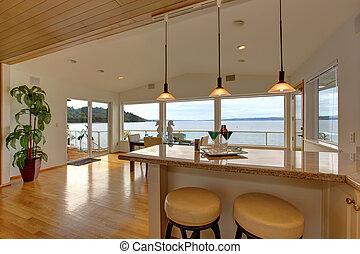 バー, 家, 上, カウンター, 腰掛け, 食事をする, ar, 贅沢, interior.