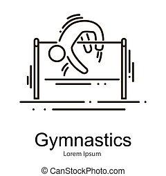 バー, 練習, 運動選手, 競争, ベクトル, 体操, イラスト, 横, スポーツ