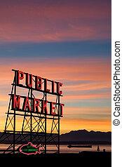 パイク, シアトル, 場所, 市場