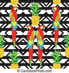 パイナップル, オウム, ∥あるいは∥, 背景, 黒, 壁紙, ラッパー, 織物, seamless, ornament., イラスト, 夏, トロピカル, pattern.