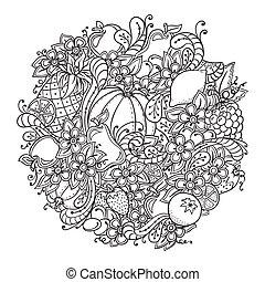 パイナップル, ベリー, doodle., さくらんぼ, バックグラウンド。, 食物, レモン, アップル, 野菜, カボチャ, ナシ, 秋, オレンジ, flowers., いちご, パターン, 成果, ブドウ, プラム, 健康