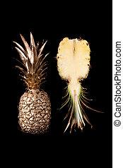 パイナップル, 黒い背景, 金, に薄く切る