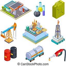 パイプライン, オイル タンク, isometric., アイコン, 貯蔵, 産業, ガス, 小さなかん, ガソリン, 生産, ベクトル, トラック, 缶, 燃料, プロダクト, 船, タンカー, 3d