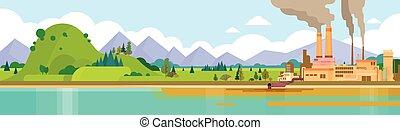 パイプ, 植物, 自然, 空気, 水, 緑, 汚い, 煙, 無駄, 旗, 環境, 汚染