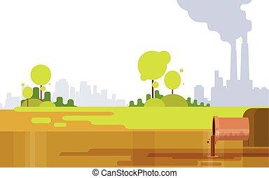 パイプ, 植物, 自然, 空気, 水, 緑, 汚い, 煙, 無駄, 環境, 汚染