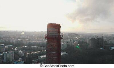 パイプ, 空気, 日光, 大きい, -, 問題, 産業, 都市, 汚染, pollutes