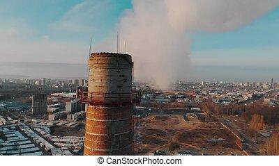 パイプ, 空気, 日光, 大きい, -, 産業, 都市, 汚染, pollutes