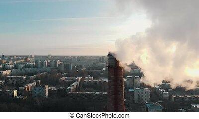 パイプ, 空気, 煙, 日光, -, 問題, 産業, 都市, 汚染, pollutes