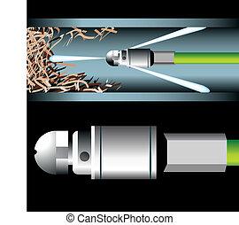 パイプ, 配管, 詰まらせられた, 道具