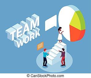 パイ, 人々ビジネス, チームワーク, グループ, 成功