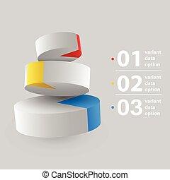 パイ, 抽象的, 3d, infographics., チャート