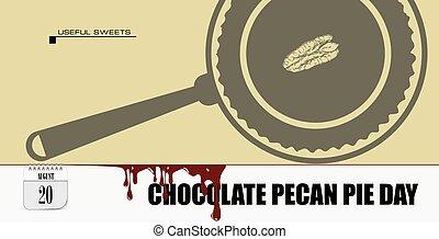 パイ, 葉書, チョコレート, 日, pecan