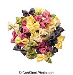 パスタ, farfalle, 多色刷り, 料理していない, 積み重ね