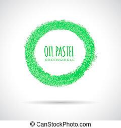 パステル, オイル, 手, 緑, アイコン, 引かれる, 円, crayon.