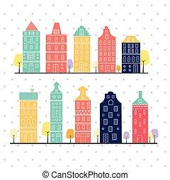 パステル, スタイル, 色, 変化, 家, アムステルダム