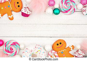 パステル, ダブル, 上に, 甘いもの, 木, 白, ボーダー, クリスマス, 装飾