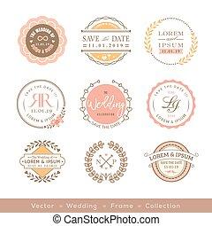 パステル, フレーム, 要素, デザイン, レトロ, 結婚式, ロゴ, バッジ