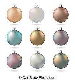 パステル, マット, ボール, 現代, 色, デザインを設定しなさい, クリスマス, 要素