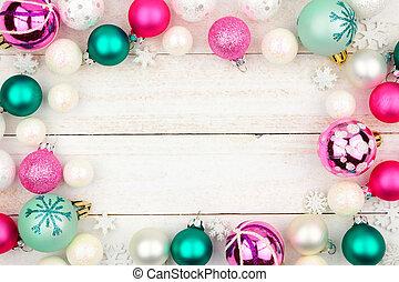パステル, 上に, フレーム, クリスマス, 木, 白, 安っぽい飾り
