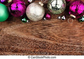 パステル, 上に, 上, クリスマス, 暗い, 木, ボーダー, 安っぽい飾り