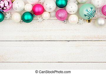 パステル, 上に, 上, クリスマス, 木, 白, ボーダー, 安っぽい飾り