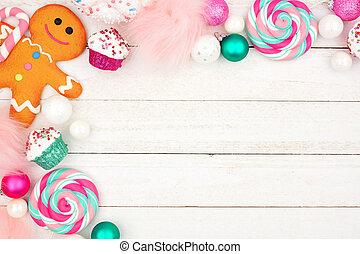 パステル, 上に, 甘いもの, 木, コーナー, 白, ボーダー, クリスマス, 装飾