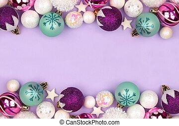 パステル, 紫色, ダブル, 上に, クリスマス, ボーダー, 安っぽい飾り