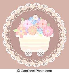パステル, 花, レース, かわいい, カート, 背景