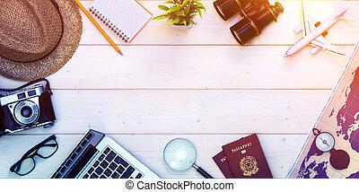 パスポート, オブジェクト, 旅行, -, ホリデー, 準備, 計画, デスクトップ, 旅行