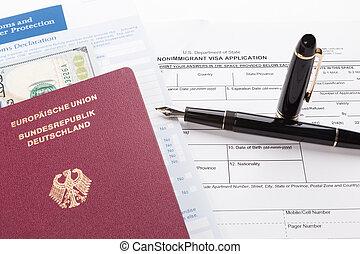 パスポート, ビザ, 旅行, 適用, ドイツ語