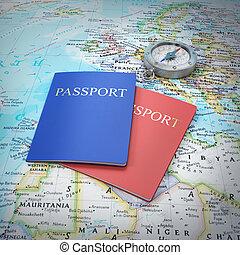 パスポート, 地図, 世界