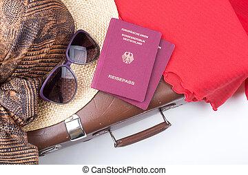パスポート, 型, 旅行, 帽子, スーツケース