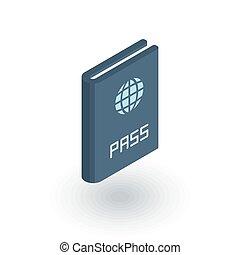 パスポート, 平ら, 等大, ベクトル, icon., 文書, id, 3d