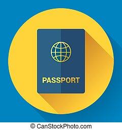 パスポート, icon., 平ら, design., ベクトル, イラスト