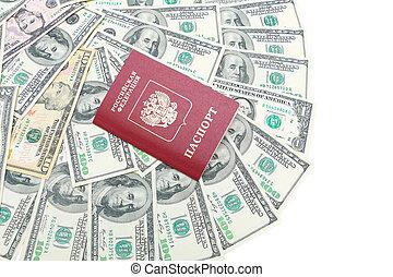 パスポート, photo., u.。s.。, 白, -, ドル, バックグラウンド。, クローズアップ, 背景, ロシア人, 横, 平面図