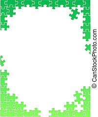 パズル小片, イラスト, ボーダー, 緑, テンプレート