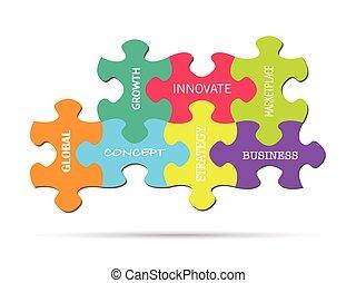 パズル小片, ビジネス 概念
