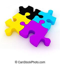 パズル小片, cmyk, 背景, 白, colorul, 3d