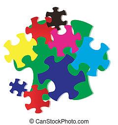 パズル, ジグソーパズル, カラフルである, ベクトル