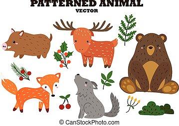 パターン装飾された, ベクトル, セット, 動物