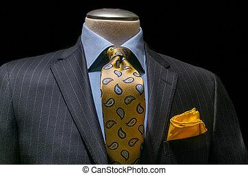 パターン装飾された, 灰色, クローズアップ, ハンカチ, 金, ワイシャツ, 青, 切り抜き, 黄色いタイ,...