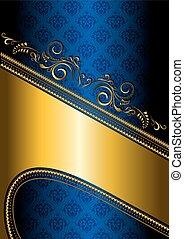 パターン装飾された, 青, ボーダー, bac, 金
