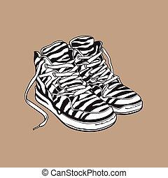 パターン装飾された, 90s, 靴, スニーカー, シマウマ, 対, スポーツ
